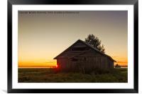 Midsummer Sunset Behind A Barn House, Framed Mounted Print