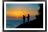 Two Men Fishing at Shore, Framed Mounted Print