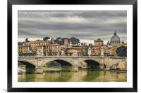 Tiber River Rome Cityscape, Framed Mounted Print