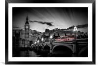 LONDON Westminster Bridge at Sunset, Framed Mounted Print