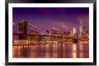 BROOKLYN BRIDGE Sunset , Framed Mounted Print