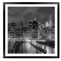 NEW YORK CITY Monochrome Night Impressions , Framed Mounted Print