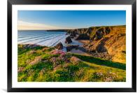 Bedruthan Steps Cornwall in Spring, Framed Mounted Print