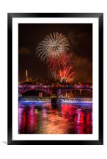 Guy Fawkes night Firework display at Glasgow Green, Framed Mounted Print