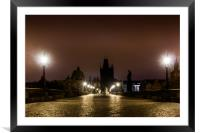Charles bridge Prague, Czech republic, Framed Mounted Print