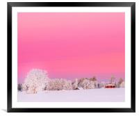 A pink winter  sunset in Sweden, Framed Mounted Print