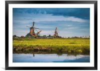 Dutch windmills on the Zaanse schans, Framed Mounted Print