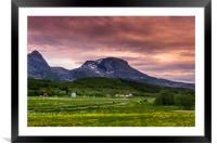 Sunset in Norway, Framed Mounted Print