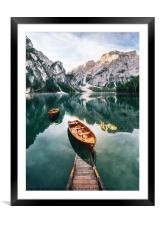 Braies lake in Dolomites, Italy, Framed Mounted Print