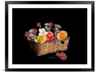 A basket of flowers, Framed Mounted Print