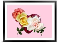 """""""Hearts And Flowers"""", Framed Mounted Print"""