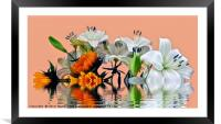 Sunflowers and Lilies, Framed Mounted Print