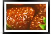 Fresh Red Strawberries Macro In Fruit Market, Framed Mounted Print