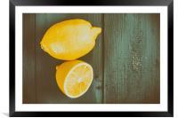 Fresh Yellow Lemons On Wooden Table, Framed Mounted Print