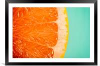 Blood Orange Slice Macro Details, Framed Mounted Print