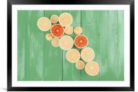 Orange, Grapefruit And Lemon Citrus Fruit Slices, Framed Mounted Print