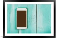 White Mobile Phone With Blank Screen On Wood Table, Framed Mounted Print
