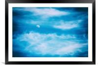 Moon Visible In Blue Sky With White Soft Clouds, Framed Mounted Print