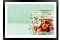 Jar Of Red Fresh Cherries, Framed Mounted Print