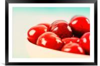 White Bowl Of Fresh Red Cherries, Framed Mounted Print