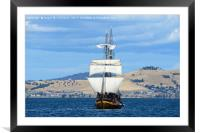 Tall ship approaching Hobart harbour Tasmania, Framed Mounted Print