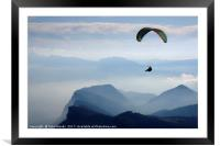 Parapenting in the French Alps, Framed Mounted Print