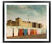 Brighton & Hove - Retro style, Framed Mounted Print