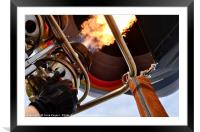 Hot Air Balloon, Burners Lit, Framed Mounted Print