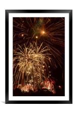 Fireworks behind trees, Framed Mounted Print