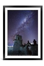 Milky Way and Parinacota Church Belfry Chile, Framed Mounted Print