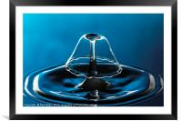 blue bell shaped water drop collision. , Framed Mounted Print