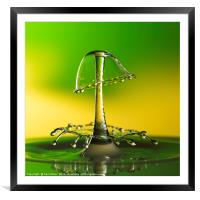 A double water drop collision, Framed Mounted Print