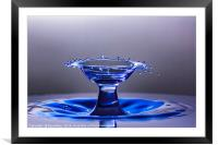 Blue bowl shaped water drop collision, Framed Mounted Print
