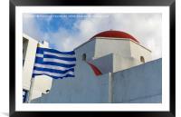 Mykonos, Greece Greek flag by whitewashed church., Framed Mounted Print