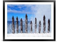 breaking waves , Framed Mounted Print