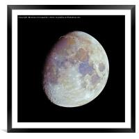 Waxing gibbous color Moon on black sky, Framed Mounted Print