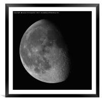 Waning Gibbous Moon isolated on black background, Framed Mounted Print