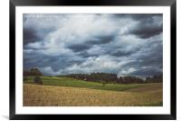 Stormy cloudscape over fields and pasture , Framed Mounted Print