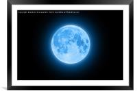 Blue super moon glowing with blue halo isolated on, Framed Mounted Print