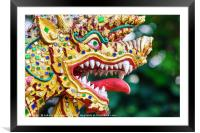 Colorful dragon head sculpture, Framed Mounted Print