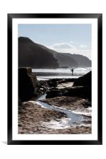 Rocky silhouettes, Perranporth., Framed Mounted Print