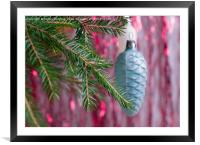 Christmas decorations on the branch. , Framed Mounted Print
