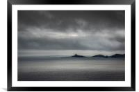 Mumbles lighthouse on a cloudy day., Framed Mounted Print