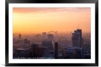 London cityscape at sunset, Framed Mounted Print