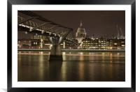 Millenium Bridge & St pauls Cathedral, Framed Mounted Print