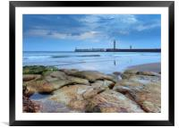 Whitby pier from the North Beach, Framed Mounted Print