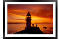 Sunset Brixham Breakwater, Framed Mounted Print