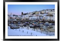 Brixham Harbour Snow, Framed Mounted Print