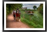 Horse-Drawn Barge on the Grand Western Canal, Framed Mounted Print