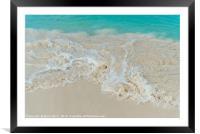 Shiny tropic sea wave on golden beach sand in Arub, Framed Mounted Print